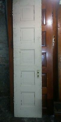 "Antique Wooden 5 Panel Door 84"" x 28 1/4"" x 1 1/2"""