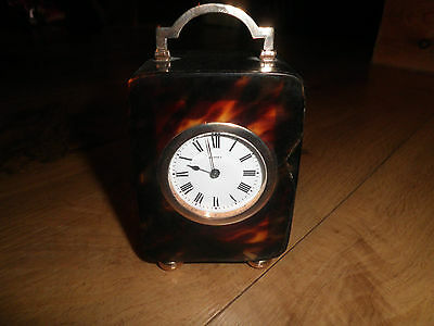 Vintage 9ct rare solid Gold &Tortoiseshell Asprey Mantle clock classic