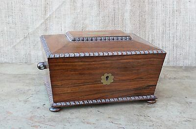 Victorian rosewood and brass jewellery sewing box with provenance