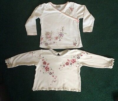 Girls Long Sleeved Floral Tops 9-12 Months.