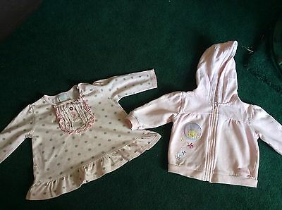 1 X Disney Baby 6-9 Months Hooded Top With Little Roo And 1 X 3-6 Month Pink Top