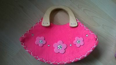 Childs pink flower bag with wooden handle