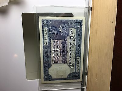 10 rupees India British paper currency note