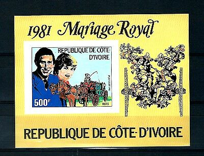 Ivory coast 1981 Imperforate M/S & stamps wedding Variety MNH  (S675)