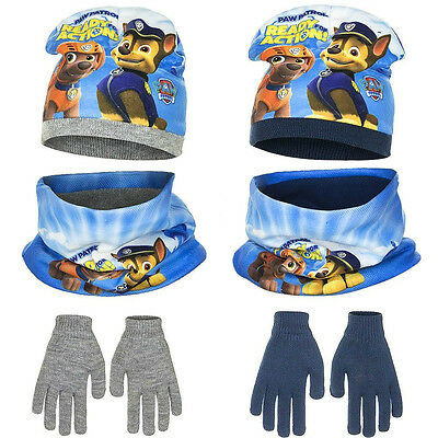 Paw Patrol Hat Glove & Scarf Set Snood Neck Warmer Hat Gloves Ready For Action