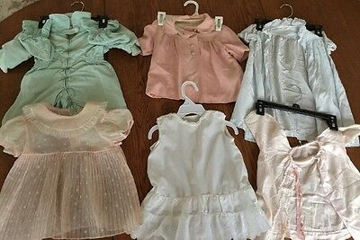 Lot of 6 Vintage Antique Baby Clothes For Boy & Girl Or A Baby Doll