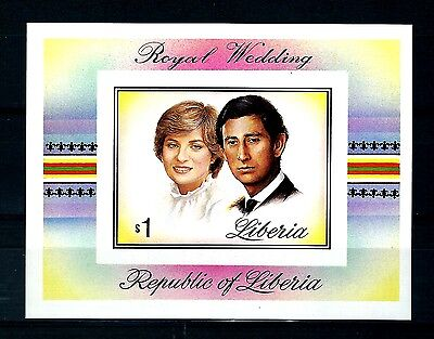 Liberia 1981 wedding Imperforate M/S & stamps wedding Variety MNH (S678)