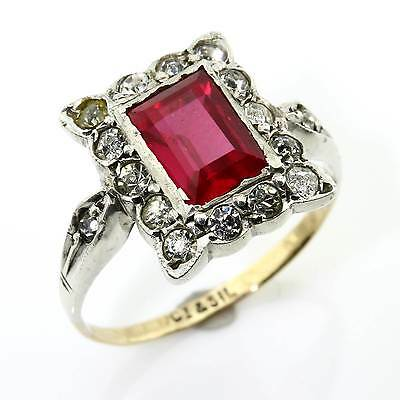Vintage Art Deco 9ct Gold Ruby Diamond Paste Ring Size K/5.5 Gift Boxed 16NRENB
