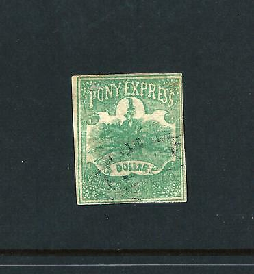 Pony Express 1 Doller printed in green local Wells fargo & Co fine used  (s24)