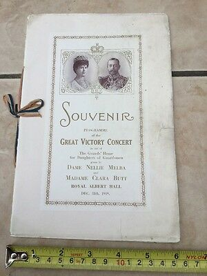 Souvenir Programme Great Victory Concert 1919 Royal Aa