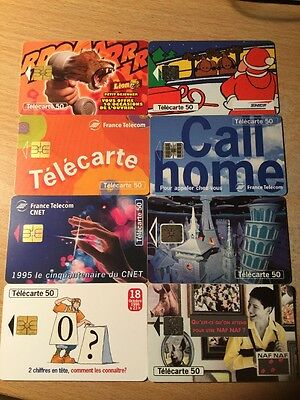 Lot Of 8 France Telecom Phone cards Used (pc08)