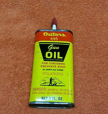 VINTAGE OUTERS GUN OIL CAN OUTERS 445 ADVERTISING TIN HUNTING outers lab. inc US