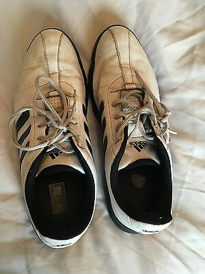 Men's White Adidas Golf Shoes, size 9, with spikes