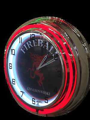 Fireball, Red Hot Cinnamon Whisky - Red Neon Clock