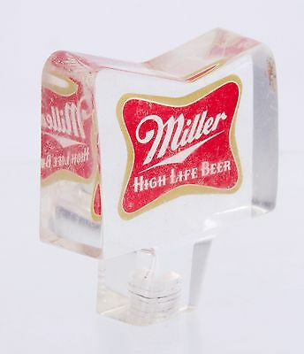 "3"" Vintage Bow Tie Miller High Life Acrylic Beer Tap Handle"