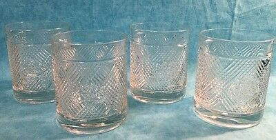 Ralph Lauren Set Of Four Thick Heavy Whiskey Glasses With Lion Crest