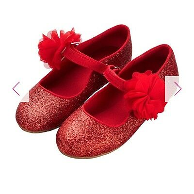 New Red Sparkle Flower Shoes For Kids