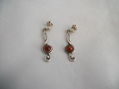 Vintage Estate 925 Sterling Silver Inclusion Amber Treble Clef Musician Earrings