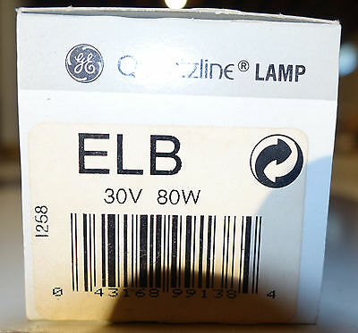 ELB 30v 80w GE Projection Lamp Bulb  NEW with FREE SHIPPING