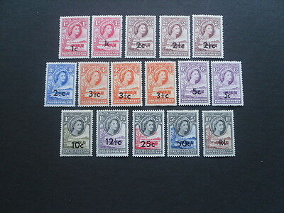 BECHUANALAND QE11 1961 Surcharged set SG.157-167b with extra types U/M