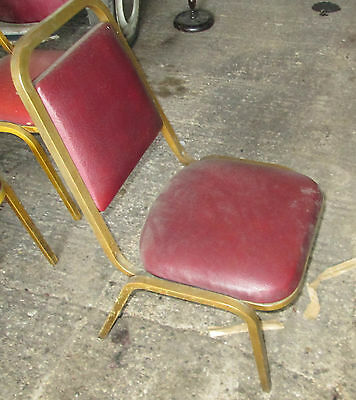 4 Vintage Cafe Stacking Chairs Church Hall Red Padded Upholstery Gold Frames