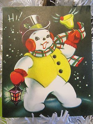 Vtg 1950's Christmas HI Snowman Flocked Yellow Velvet Card Day-Glo USA Awesome!