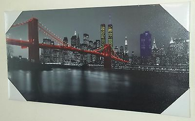 Brooklyn Bridge New York Twin Towers Stretched Mounted Canvas Art Print New