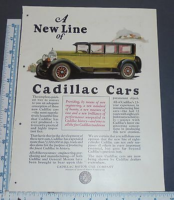 VINTAGE ORIGINAL 1925 CADILLAC Antique Print Ad