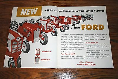 1958 Ford Power Up with New Ford Tractors Colorful Advertising Sales Brochure