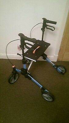 4 Wheeled Rollator Mobility Red with Push Down Brakes