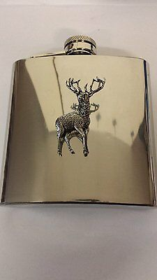 A31 Stag 1 english pewter 6oz Stainless Steel Hip Flask With Pewter em
