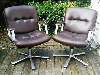 Vintage retro swivel leather office chairs - pair