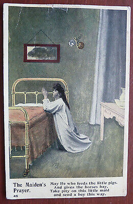 "Vintage Postcard "" The Maiden's Prayer""- Greetings"