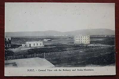 Old Postcard- Suez- General View with the Refinery and Ataka Mountains-Egypt