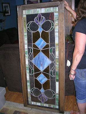 60X25 Stained Glass Rare Window From Harlem New York Building Salvaged Treasure