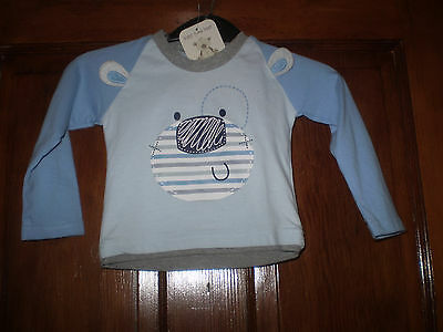 NWT Baby time Bear blue top Size 9-12 mths