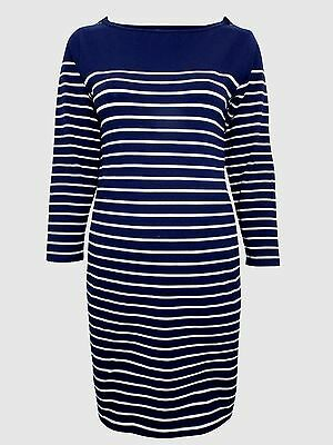 JoJo Maman Bebe Navy Breton Stripe Button Shoulder Maternity Dress Size XS S M L