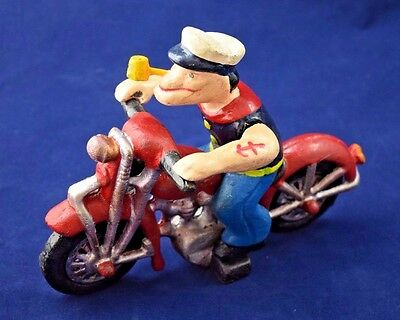 Vintage CAST IRON POPEYE On Patrol MOTORCYCLE Toy