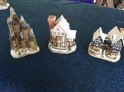 4 David Winter Miniature Christmas Houses Craft Fairy Garden Decorations Castle