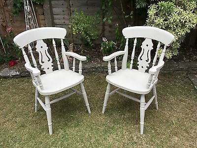 Pair Vintage Style Painted Wheelback Carver Kitchen / Dining Chairs ....