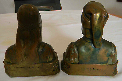 Antique Circa 1920's Dante And Beatrice Pompeian Bronze Bookends Vintage