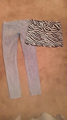 Girls H&M jeggings & animal print stretch skirt bundle size 10-11 years
