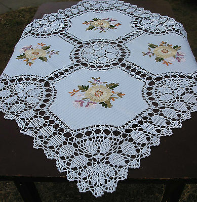 "Hand Crochet Embroidered TABLECLOTH 33""/84cm  SHABBY VICTORIAN /vintage Wedding"