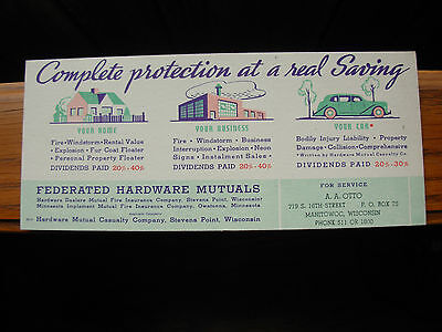 Old Vintage Advertising Blotter Federated Hardware A.A. Otto Manitowoc Wisconsin