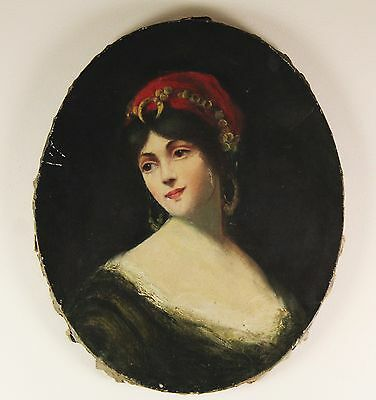 Old Antique Oil Painting On Canvas Portrait Of Woman