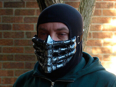 Mortal Kombat Scorpion v1 Silver Airsoft Cosplay Mask - In Stock -
