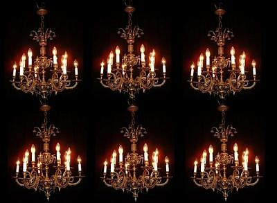 Vintage French bronze Cherub chandeliers 6 arms 12 lights chandelier 6 available