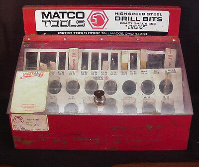 Matco High Speed Drill Bit Display Case And 38 New Drill Bits Fractional Sizes