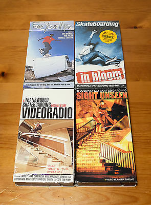 4 Transworld Skate Videos In Bloom, Free Your Mind, Sight Unseen Skateboard VHS