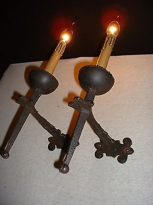 Vintage large Gothic style French wrought Iron sconces wax covers 2 p available